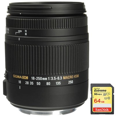 18-250mm F3.5-6.3 DC OS HSM Macro Lens for Canon EF Cameras w/ 64GB Memory Card