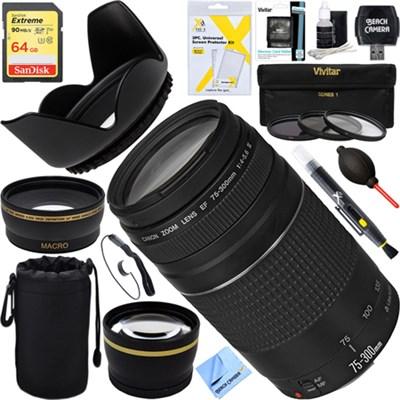EF 75-300mm  F4-5.6 III Lens + 64GB Wide-Angle & Telephoto Ultimate EOS Lens Kit