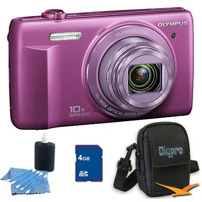 4 GB Kit VR-340 16MP 10x Opt Zoom 3-inch LCD Digital Camera - Purple