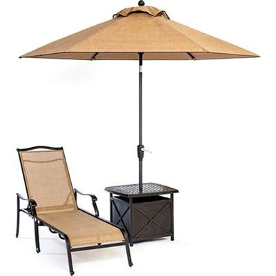 Monaco 3pc Slng Chs Set: 1 Chaise 1 Umb Side Tbl 11  Umbrella