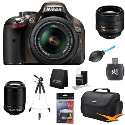 D5200 Bronze Digital SLR Camera with 18-55mm, 55-200mm, 85mm Lens Kit