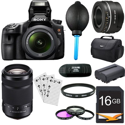 SLTA65VL - a65 Digital SLR Camera Plus 18-55mm, 55-300mm & 50mm f1.8 Lens Bundle