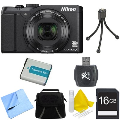 COOLPIX S9900 16MP HD 1080p 30x Opt Zoom Digital Camera - Black Deluxe Bundle