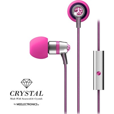 Crystal In-Ear Headphones with Microphone Made with Swarovski Crystals - Pink