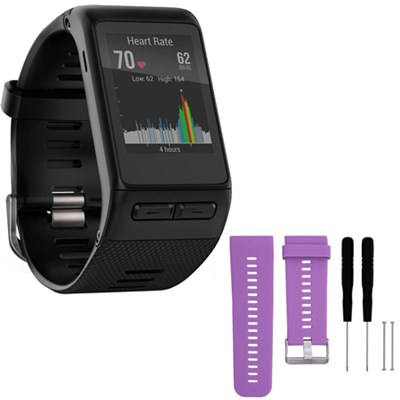 vivoactive HR GPS Smartwatch  XL Fit Black w/ Silicone Band Strap + Tools Purple