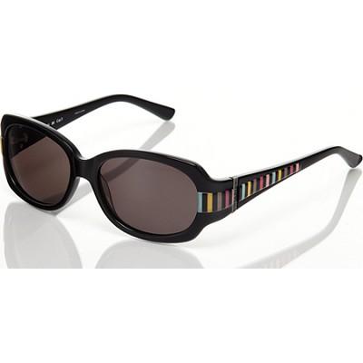 Black/With Multi Color Stripe-Grey Sunglasses