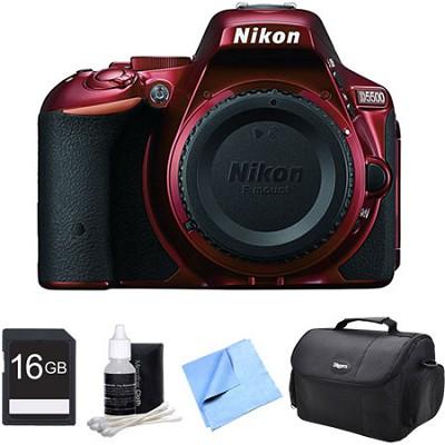 D5500 Red Digital SLR Camera and 16GB Bundle