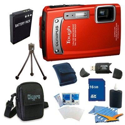 16GB Kit Tough TG-320 14MP Waterproof Shockproof Freezeproof Digital Camera -Red
