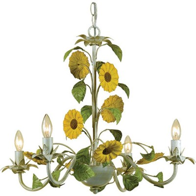 Kansas Sunflowers Mini Chandelier4-60W Cndl Bulbs 18.5 HX22 WHardwire