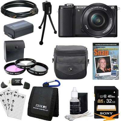 a5000 Compact Interchangeable Lens Camera Black w/ 16-50mm Lens Ultimate Bundle