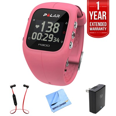 A300 Fitness Tracker and Activity Monitor, Pink + Extended Warranty Bundle