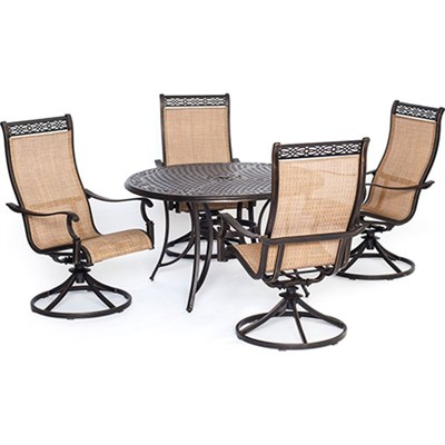 Manor 5 Piece Outdoor Dining Set with Four Swivel Rockers - MANDN5PCSW-4