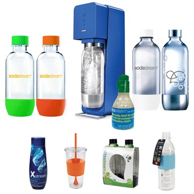 Source Soda Maker(Metal) in Blue with Exclusive Kit w/ 4 Bottles & Starter CO2