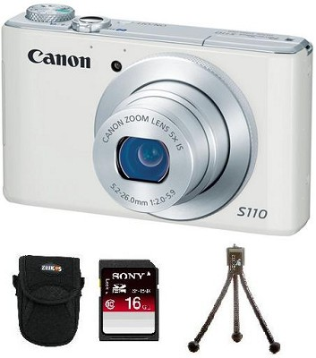 PowerShot S110 Compact High Performance Digital Camera (White) Bundle Deal