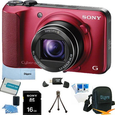 Cyber-shot DSC-HX10V (Red) 18.2 MP 16x Zoom 3D Sweep HD Video with 16GB Bundle