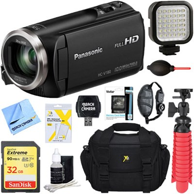 HC-V180K Full HD Camcorder with 50x Stabilized Optical Zoom + 32GB Deluxe Bundle