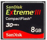 8 GB Extreme III CompactFlash Memory Card 30MB/S {SDCFX3-008G-A31}