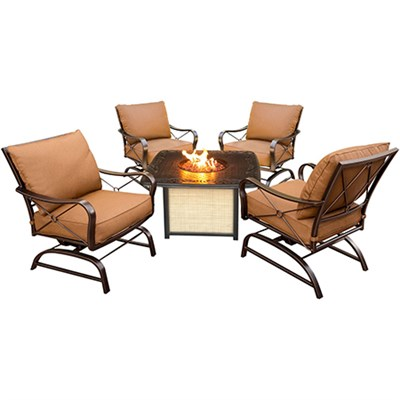 Summer Nights 5pc Fire Pit: 4 Cushion Rockers Cast Top Fire Pit w/lid