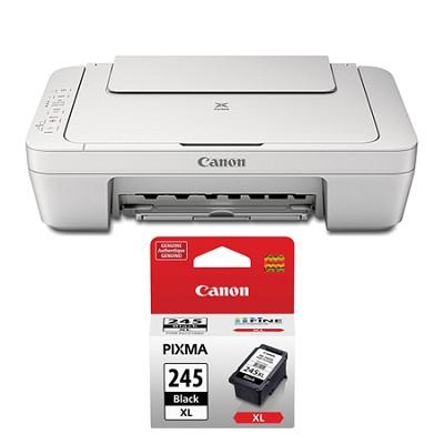 Pixma MG2924 Wireless Inkjet Photo All-In-One White Printer XL Black Ink Bundle