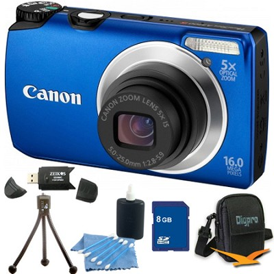 PowerShot A3300 IS 16MP Blue Digital Camera 8GB Bundle