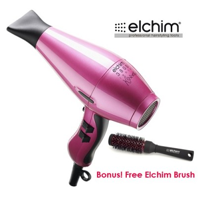 3800 Idea Ionic Hair Dryer in Fuchsia Pink + Free Elchim 1-3/4` Round Brush