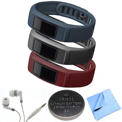vivofit 2 Wrist Bands (Large) (Burgundy/Slate/Navy) Bundle