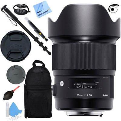 20mm F1.4 Art DG HSM Wide Angle Lens Nikon Full Frame DSLR Cameras Accessory Kit