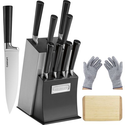11 Pcs Vetrano Collection Cutlery Knife Block Set Black w/Gloves & Cutting Board