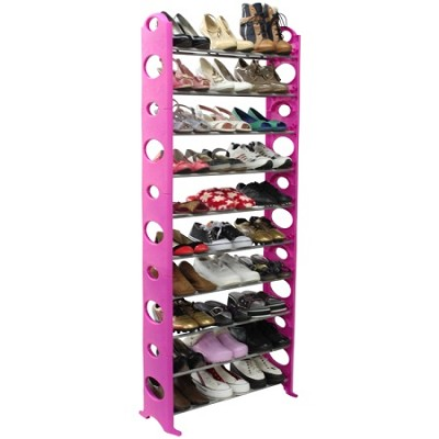 30-Pair Easy To Assemble Shoe Rack - Pink