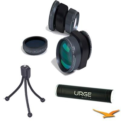 Telephoto Lens Plus Circular Polarizer BLK for iPhone 5-5/S Tripod/Power Bundle