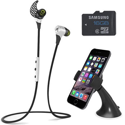 BlueBuds X Sport Bluetooth Headphones (Storm White) Mount & Memory Bundle