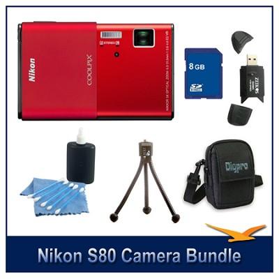 COOLPIX S80 Red Camera 8GB Bundle w/ Case, Reader, Tripod & More