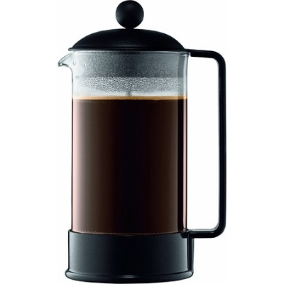 Brazil 8 Cup French Press Coffee Maker 34 oz Glass Carafe - Black - OPEN BOX