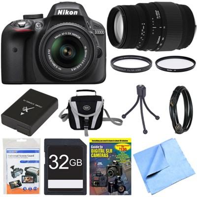D3300 DSLR 24.2 MP HD 1080p Camera Black w/ 18-55mm + 70-300mm Lens Bundle