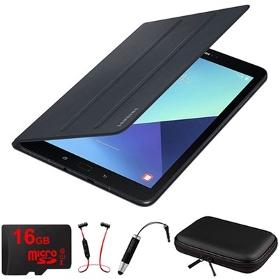 Galaxy Tab S3 9.7` Tablet Book Cover Black with 16GB Memory Card Bundle