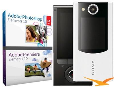 MHS-FS2 Bloggie Duo HD 4GB White Camera Camcorder w/ 2 LCD Screens Adobe Bundle