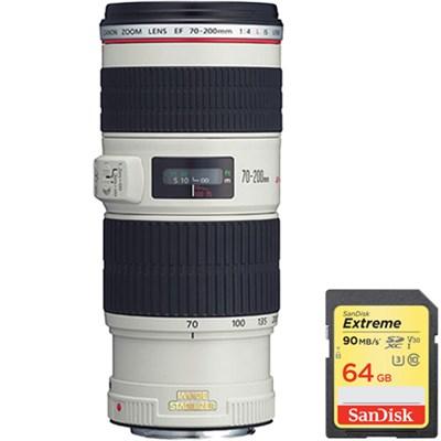 EF 70-200mm f/4L IS USM w/ Case & Hood USA Warranty w/ Sandisk 64GB Memory Card