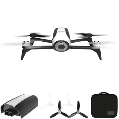 Bebop 2 Quadcopter Drone with HD 14MP Flight Camera (White) All Inclusive Pack