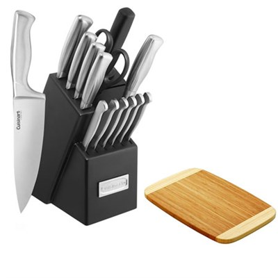 15pc Stainless Steel Hollow Handle Cutlery Block Set w/Premium Cutting Board