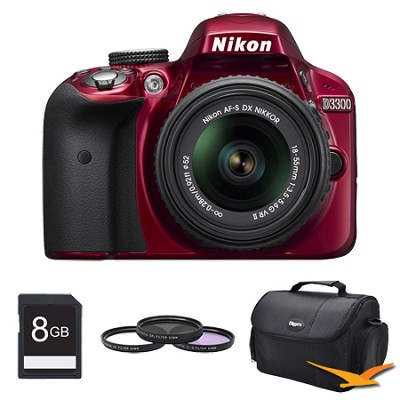 D3300 DSLR 24.2 MP HD 1080p Camera with 18-55mm Lens Red Kit
