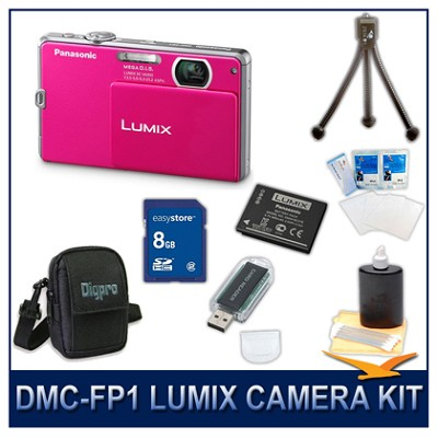 DMC-FP1P LUMIX 12.1 MP Digital Camera (Pink), 8G SD Card, Card Reader & Case