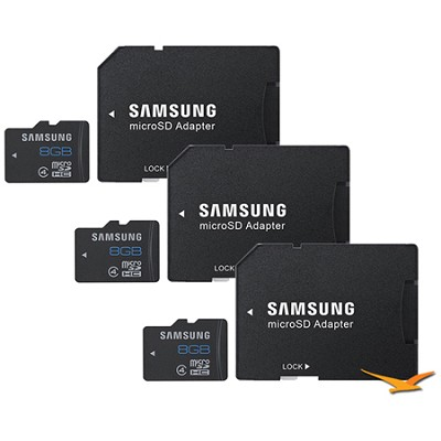 8GB microSDHC Class 4 Memory Card with Adapter 3-Pack
