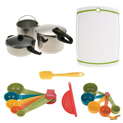 Duo 2-in-1 5 Pc. Combi Pressure Cooker Deluxe, Board, and Measuring Sets Bundle