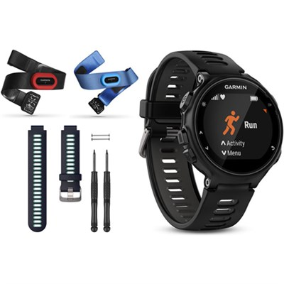 Forerunner 735XT GPS Running Watch Tri-Bundle with Blue Band - Black/Gray