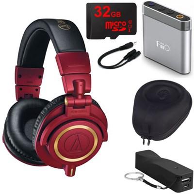 ATH-M50xRD Pro Studio Monitor Headphones (Red Limited Edition) Travel Bundle