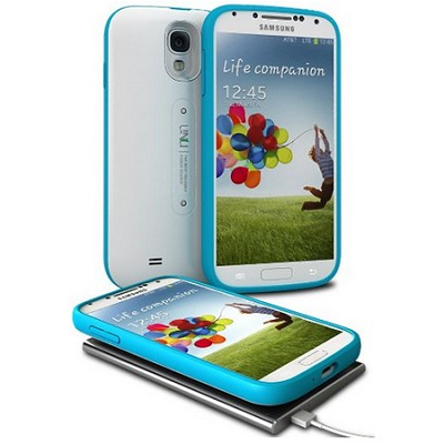 Aero Battery Case Cover with Wireless Charging Mat for Galaxy S4 - White/Blue
