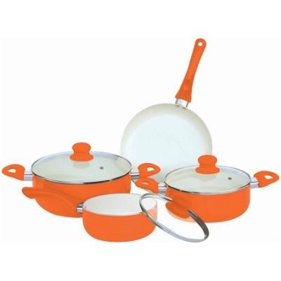 7-Piece Ceramic Cookware Set - Orange