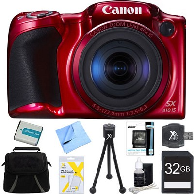Powershot SX410 IS Red Digital Camera and 32GB Card Bundle