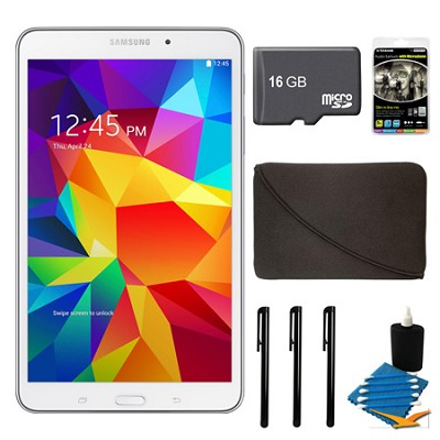 Galaxy Tab 4 White 16GB 8` Tablet, 16GB Card, and Case Bundle