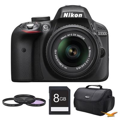 D3300 DSLR HD Black Camera with 18-55mm Lens, 8GB Card, and Case Bundle